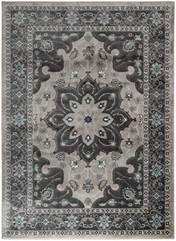 Fiesta Luxury Modern Contemporary Living Dining Bedroom Traditional Design Jute Backed Soft and Fluffy Indoor Floor Area Rugs, Grey 5 x 7 5 2 x 7 2