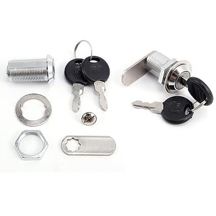 2 x cerradura en acero inoxidable con 2 llaves para buzón de modelo 30 mm