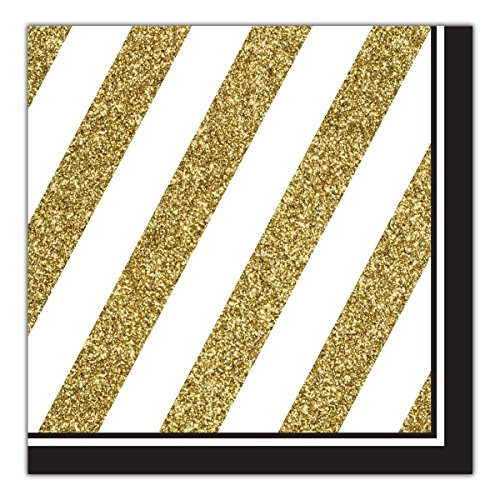 Creative Converting Black and Gold 48 Count Lunch Napkins Party Bundle (Birthday Lunch Style Napkins)