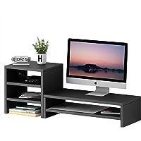 Monitor Stand Riser Computer Stand Riser with 3 Tier Storage Shelves Desktop Storage Organizer Laptop Speaker TV Printer…