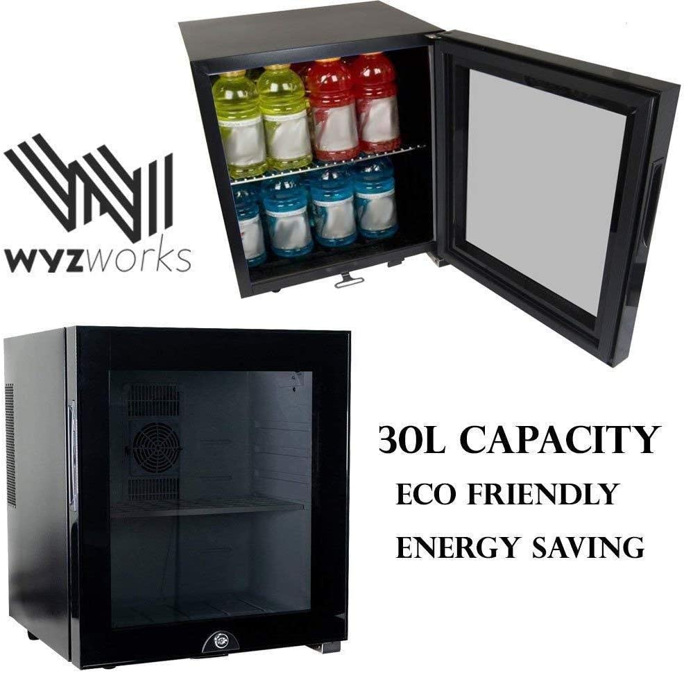 WYZworks 30L Stainless Steel Refrigerator Semiconductor, 1.7 Cubic Feet, Energy Saving Environmentally Friendly Locking Glass Door Wine Spirits Beer Cooler Fridge Black