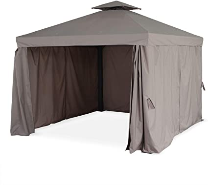 Alices Garden - Pérgola de aluminio - Divodorum 3x3m - Lona taupe - Cenador con cortinas, estructura de aluminio: Amazon.es: Jardín