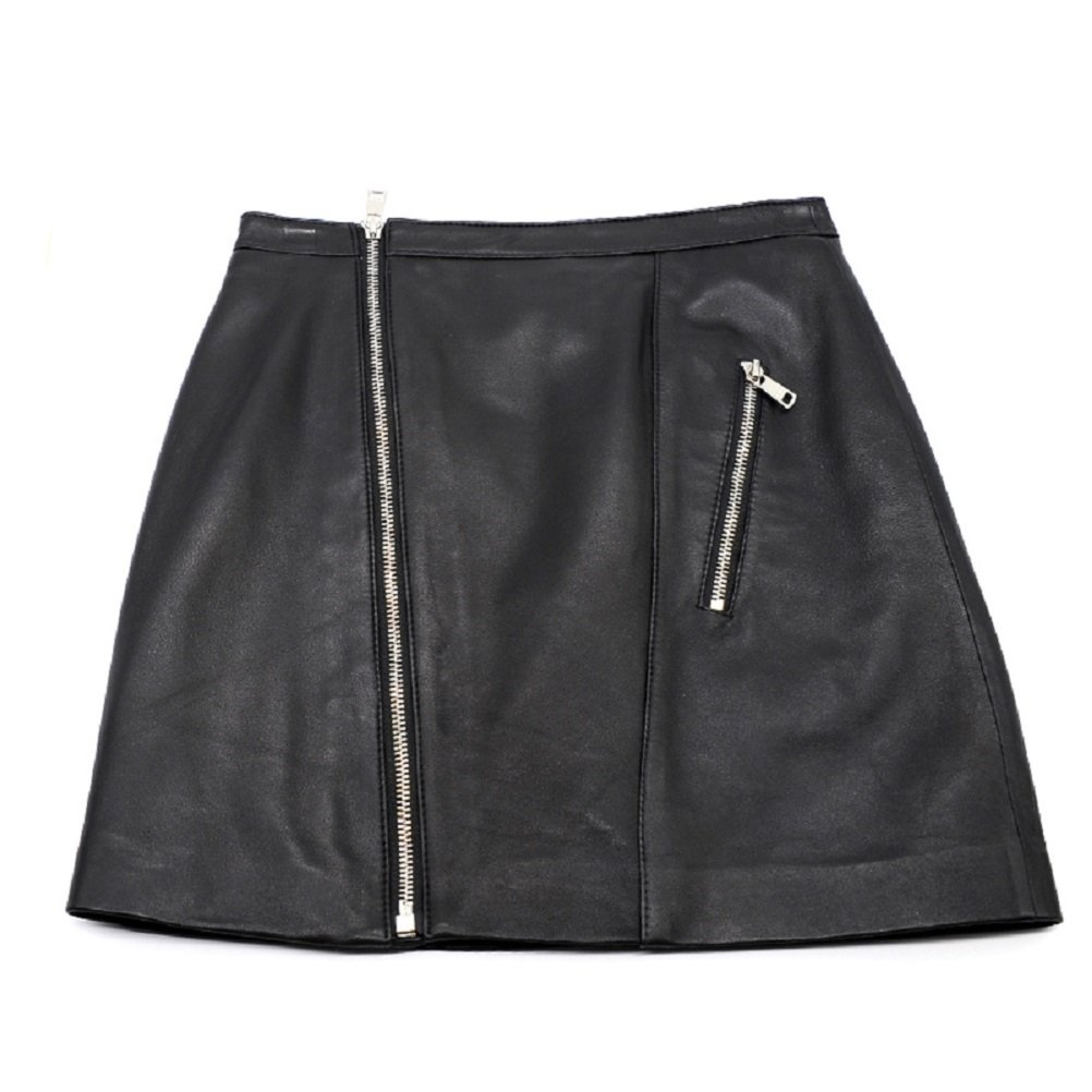 Black Women Classic High Waisted Genuine Leather Bodycon Slim Mini Pencil Skirt