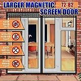 Magnetic Screen Door 72 x 82 Inch for French Door, Full Frame Velcro Wide Mega Mesh Door Fit Size up to 70''(w)x81''(h) Max, PLUSARGENT Double Sliding Screen Door Curtain Slab Doors Keep Fly Mosquito