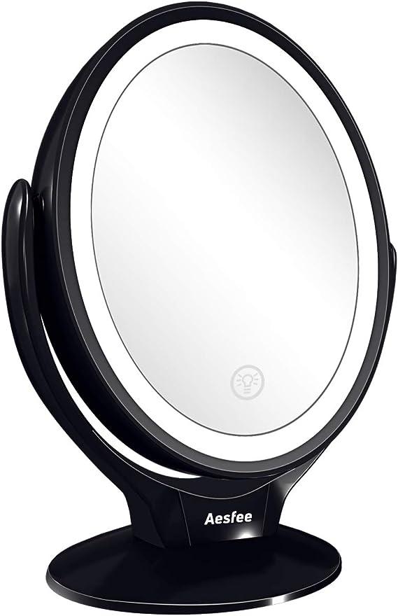 Aesfee Miroir Grossissant Maquillage 7X Rechargeable par USB Double Face Miroir Maquillage avec 21 Lumi/ères LED Rotation /à 360/°