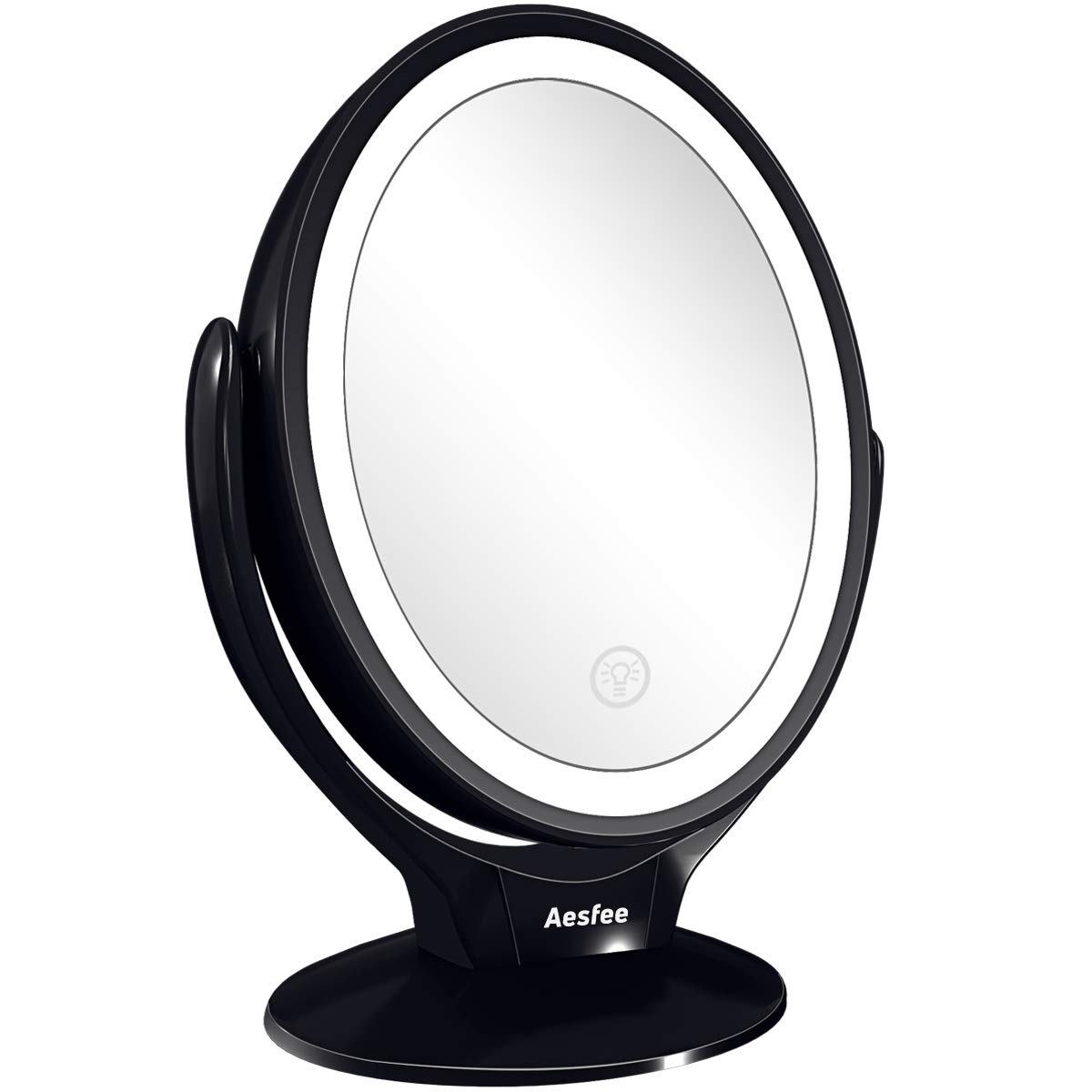 Aesfee LED Lighted Makeup Vanity Mirror Rechargeable,1x/7x Magnification Double Sided 360 Degree Swivel Magnifying Mirror with Dimmable Touch Screen, Portable Tabletop Illuminated Mirrors - Black