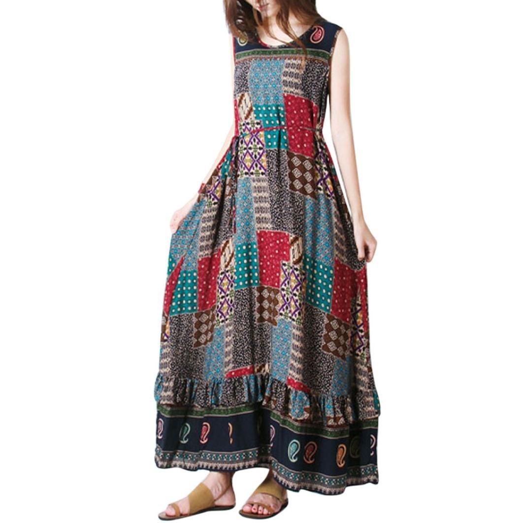 Hot Sale! Dress Women Casual Sleeveless Loose Boho Print Summer Long Dress Plus Size (Khaki, XL)