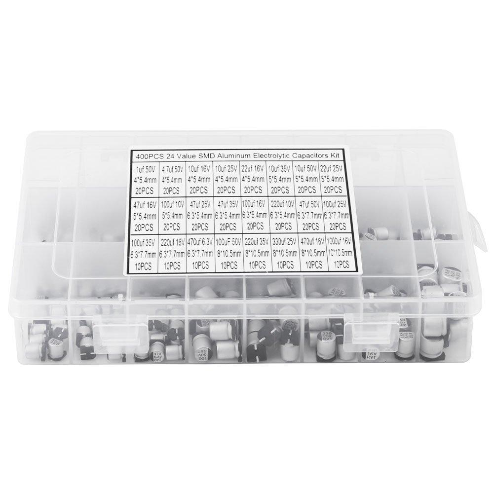 24 Werte 400St SMD Aluminium Elektrolyt kondensator Sortiment mit Aufbewahrungsbox,1uF 1000uF 6,3 V ~ 50 V Miniatur Elektrolyt kondensatoren