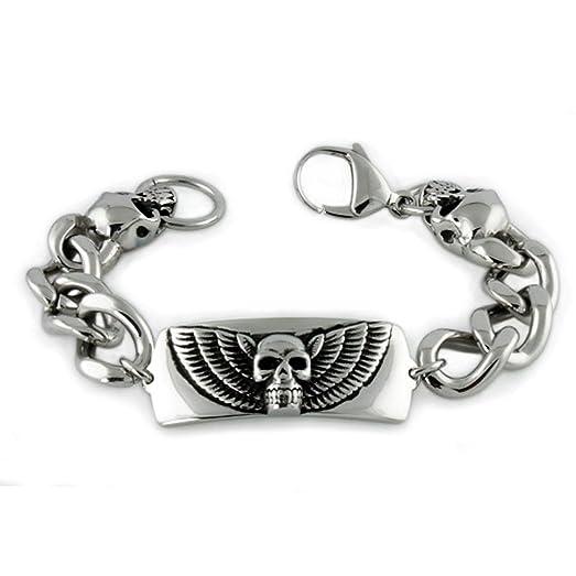 Tioneer Stainless Steel Inspirational Dad Engraved ID Bracelet 2woK6NDy