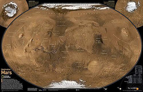 - National Geographic: Destination Mars: 2 sided Wall Map - Laminated (31.25 x 20.25 inches) (National Geographic Reference Map)