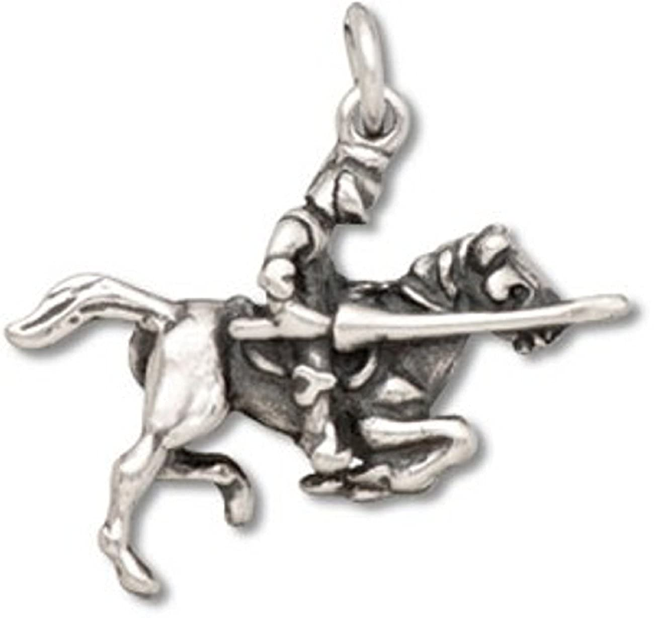 Sterling Silver Womens 1mm 3D Jousting Armored Knight On Charging Horse Pendant Necklace