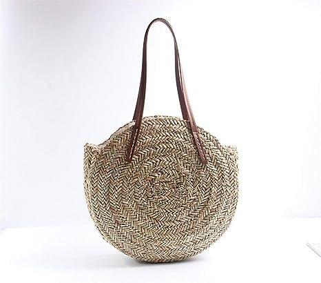 Bolsa de playa redonda de paja Vintage hecho a mano bolsa de hombro tejida rafia circulares
