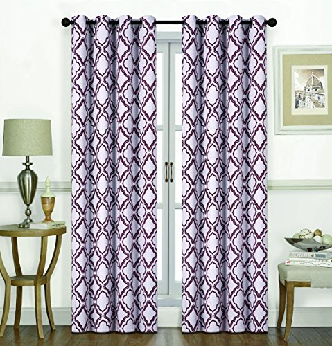 RT Designers Collection Shelby Printed 54 x 84 in. Blackout Grommet Curtain Panel, -