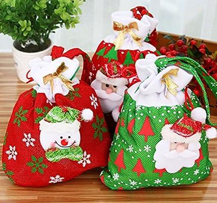 Amazon.com: Alfto Fabric Candy Treat Bags Santa Sacks Drawstring ...