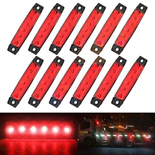 2 pcs 3.8/'/' 6 LED Red Side Led Marker Tail LED Light for Truck Trailer Trail Bus