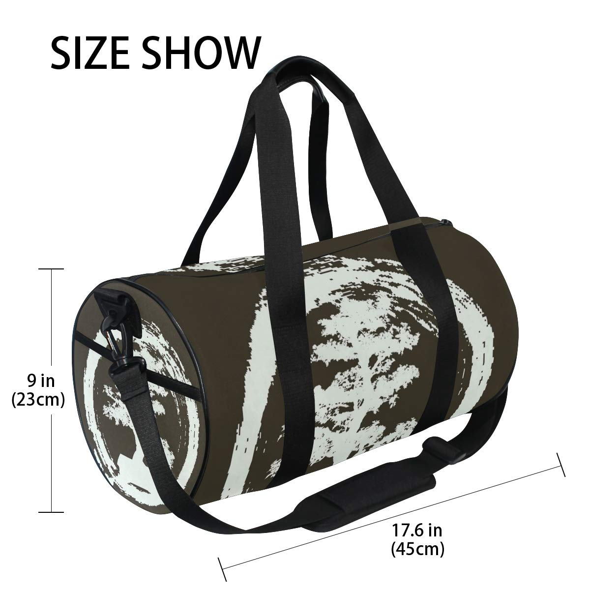 Gym Bag with Splash Japanese Bonsai Tree Print Travel Weekender Duffel Bag for Man and Woman