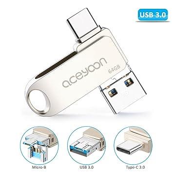 aceyoon Pendrive 64 GB USB C 3.0 / USB 3.0 / Micro USB OTG ...