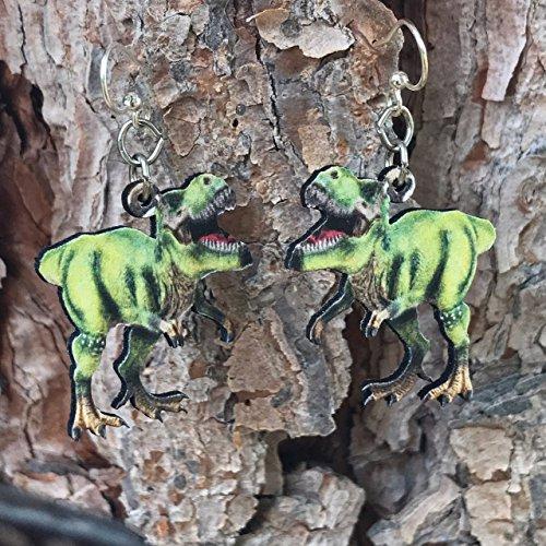 (Green Tree Jewelry T-Rex Tyrannosaurus Rex Wood Wooden Laser Cut Earrings #1543)