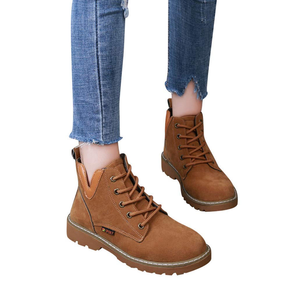 80d3800bda799 Amazon.com: Combat Boots Baigoods Women Round Toe Suede Shoes Flat Booties  Lace Up Ankle Boots Leisure Shoes: Clothing