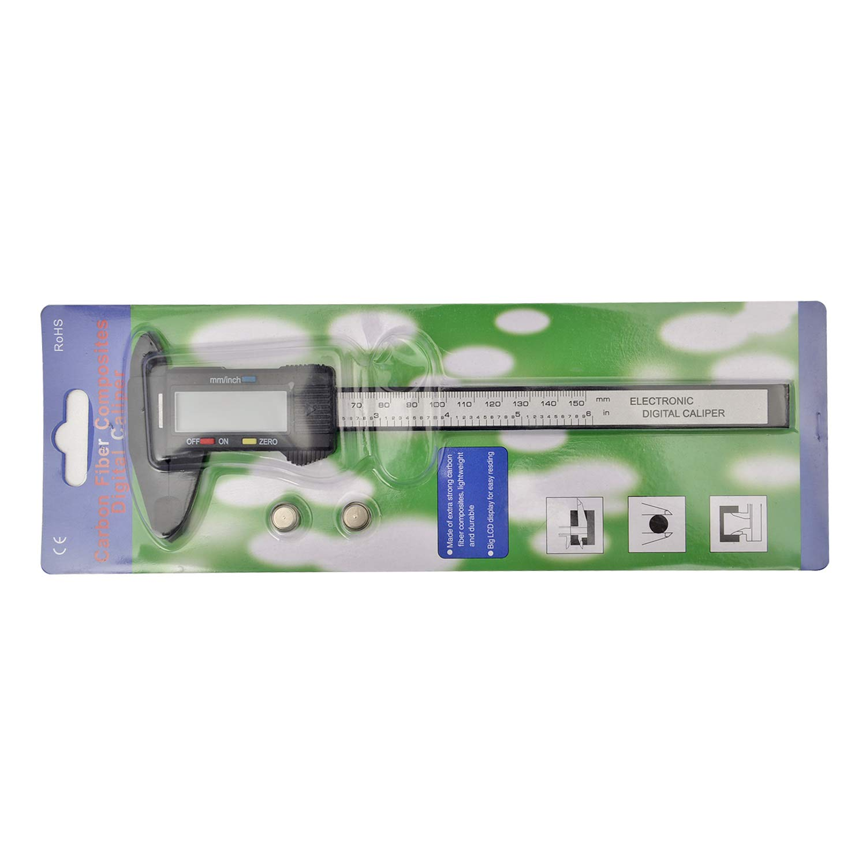 AWinEur 150mm 0-6 Electronic LCD Digital Vernier Caliper Plastic Caliper Gauge Micrometer Ruler Carbon Fiber Measuring Tool Inch//Metric//Fraction Conversion