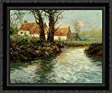 yhe edge - House by yhe Water's Edge 24x20 Black Ornate Wood Framed Canvas Art by Frits Thaulow