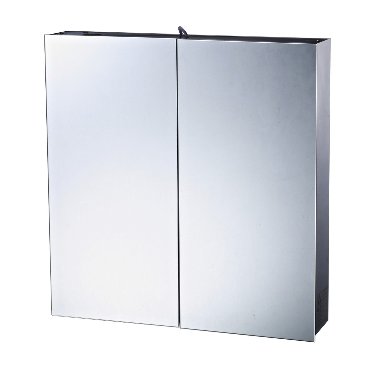 HOMCOM Stainless Steel Wall Mounted Bathroom Mirror Cabinet Storage Unit Double Door 3 Shelves with LED Light Sold By MHSTAR