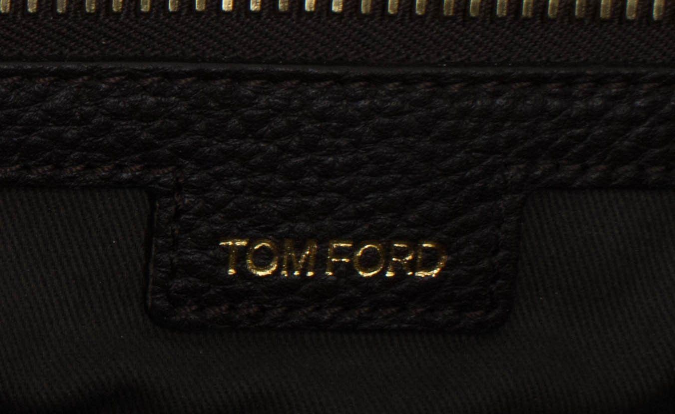Tom Ford Buckley Trapeze Large Brown Pebbled Leather Briefcase Bag