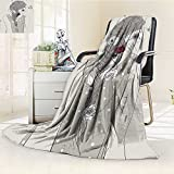YOYI-HOME Cotton Thermal Duplex Printed Blanket,Girly Young Bohemian Lady with Floral Accessories in Her Hair and Butterflies Grunge Art Grey Soft and Breathable Cotton/W47 x H31.5