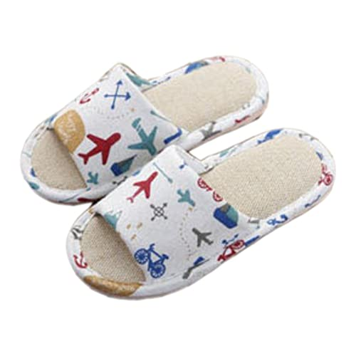 Hanfeng Cute Home Shoes, Kids Indoor House Slipper Skid-Proof Flax Slipper  for Boys and Girls