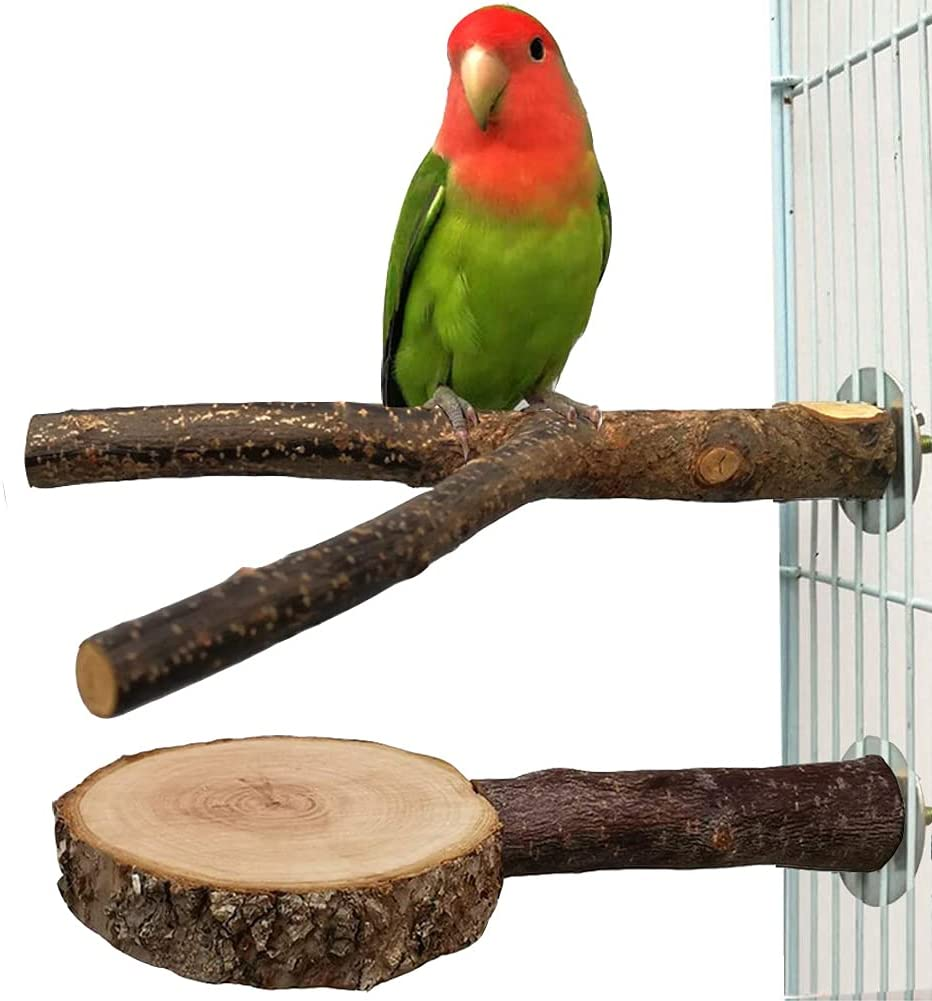 DuvinDD 2 PCS Bird Perches for Cage, Natural Wood Parrot Perch and Parakeet Flat Stand Platform, Paw Grinding Standing Cockatiel Toys, Bird Cage Branches for Small Conure Budgies