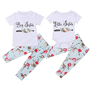 cf16fcdd007 Amazon.com  Family Big Sister Little Sister Matching Outfits Deer Short Romper  Shirt + Pant Leggings Clothes Sets  Clothing