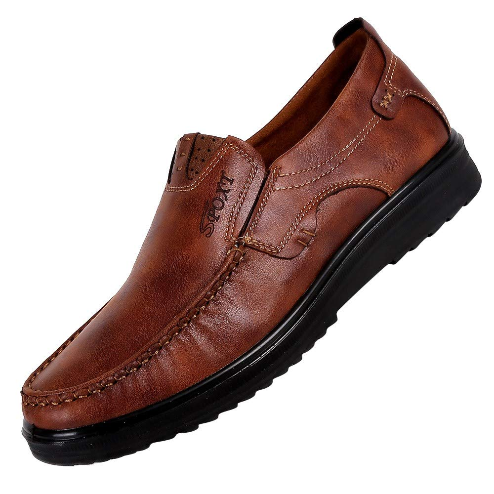 Corriee Men Loafer Slip-on Shoes Men's Business Shoes Fashion Breathable Soft Bottom Casual Shoes Dress Shoes Brown