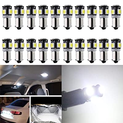 AMAZENAR 20-Pack BA9S 12146 T4W 233 1895 White 12V LED Light - 5050 5SMD Car Interior Replacement Bulb for Map Dome Courtesy Trunk License Plate Side Marker Light - Diameter 9mm: Automotive