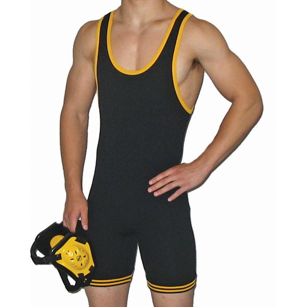 Matman 83 Adult Nylon Wrestling Singlet Matman Wrestling 83 Adult Nylon Black/Gold 2XL