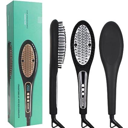 MEKEET - Cepillo iónico para alisar el pelo, peine alisador de cerámica antiquemaduras con función