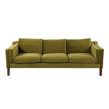 Attirant Kardiel Monroe Mid Century Modern Sofa 3 Seat, Olive Velvet