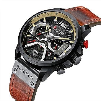 Mens Military Sport Watches Leather Strap Date Multi-Function Wristwatch Reloj Hombre Mens Quartz