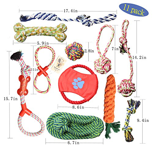 (DIJOQU Cat and dog toys - chew toys - 11 percent natural cotton rope - imitation slippers - dog balls - dog bones - frisbee - dog rope - drag war balls - toy dogs 10 pack gift sets )