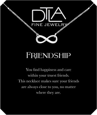 DTLA Friendship Infinity Necklace in Sterling Silver with Inspirational  Card - Makes A Great Gift
