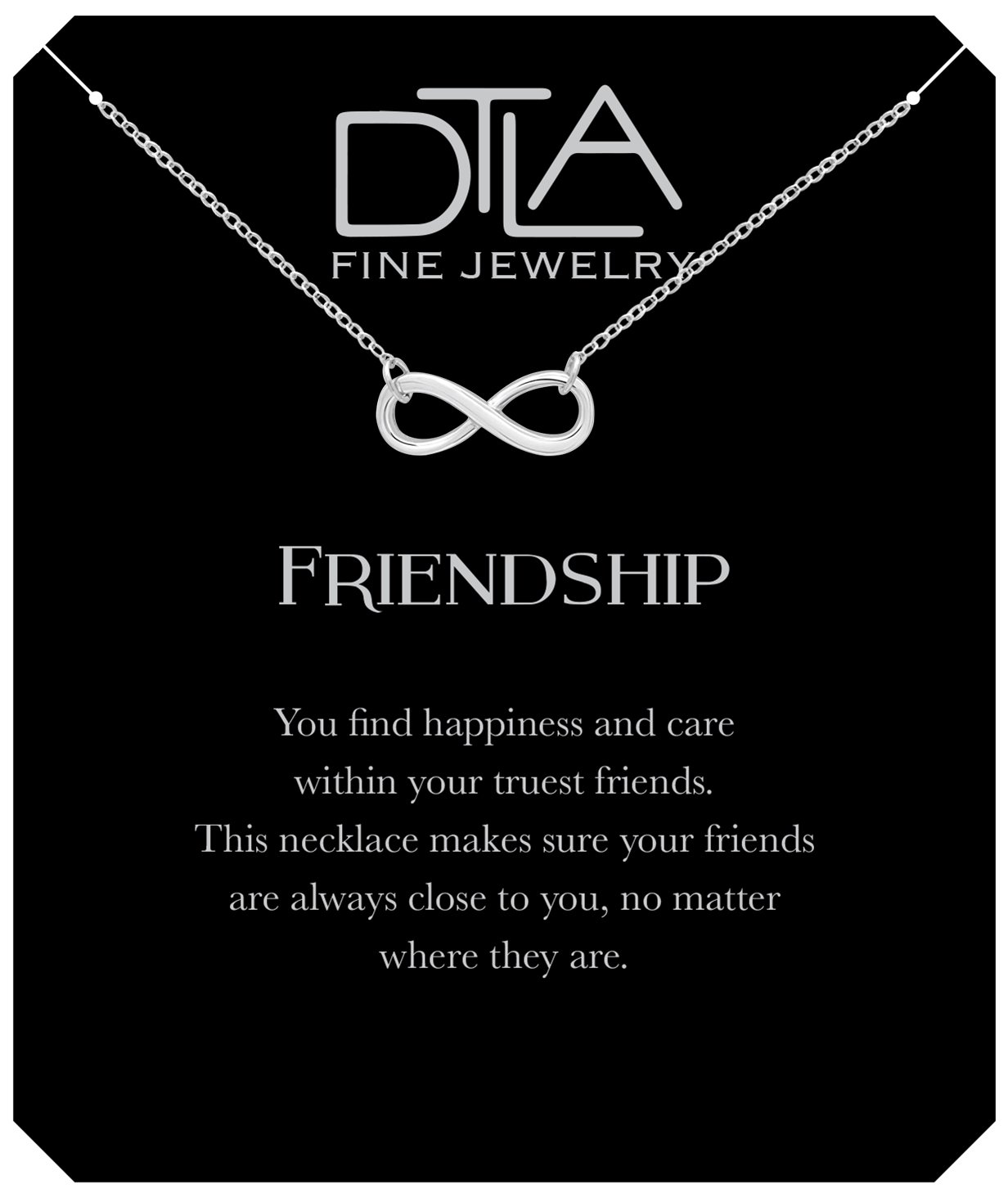 DTLA Friendship Infinity Necklace in Sterling Silver with Inspirational Quote Card - Silver by DTLA Fine Jewelry (Image #1)