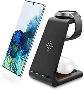 Intoval Wireless Charger, Wireless Charging Station for Samsung Galaxy Phone/Watch/Buds, Fit for Note 20/Note 10/S20/S10, Watch 3/Active 2,1/Gear S3/Sport/Fit, Galaxy Buds+/Live(S3,Black)