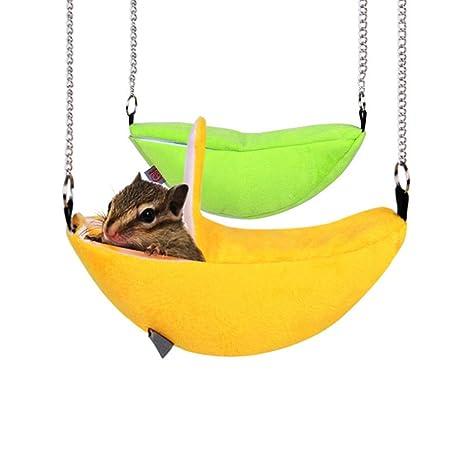 Sue Supply - Hamaca colgante para mascotas con forma de hámster para ardillas, chinchillas,