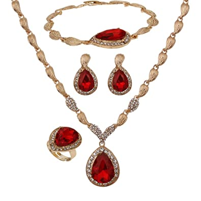YAZILIND Women Bridal Red Crystal Jewelry Sets 18K Gold Plated Necklace Earrings Bracelet Ring Sets  sc 1 st  Amazon UK & YAZILIND Women Bridal Red Crystal Jewelry Sets 18K Gold Plated ...