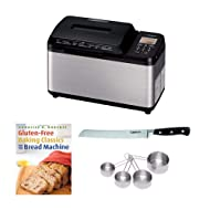 """Zojirushi BB-PDC20BA Home Bakery Virtuoso Plus Breadmaker, (2 lb. loaf) Bundle with 8"""" Bread Knife with Blade Guard, 4 Piece Stainless Steel Measuring Cup Set and Bread Book (5 Items)"""