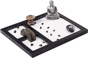 Desktop Buddha Zen Garden Table Décor Kit with Zen Garden Sand Zen Stone Rocks Pagoda Rake (GR019)