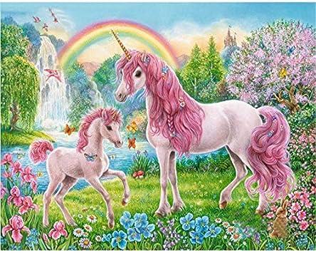 Geiqianjiumai Pintura jardín Rosa Unicornio Lienzo Animal ...