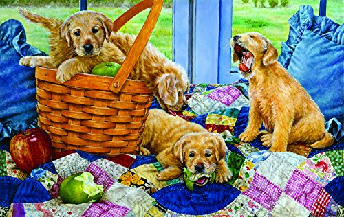 Puppies in a Basket 550 Piece Jigsaw Puzzle by SunsOut