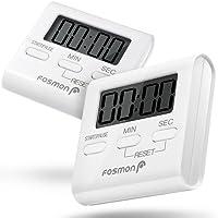 Minuterie numérique (paquet de 2), Temporisateur de cuisine Fosmon avec Alarme forte, arrière magnétique, support rétractable et gros chiffres [Compter haut et bas] - Blanc