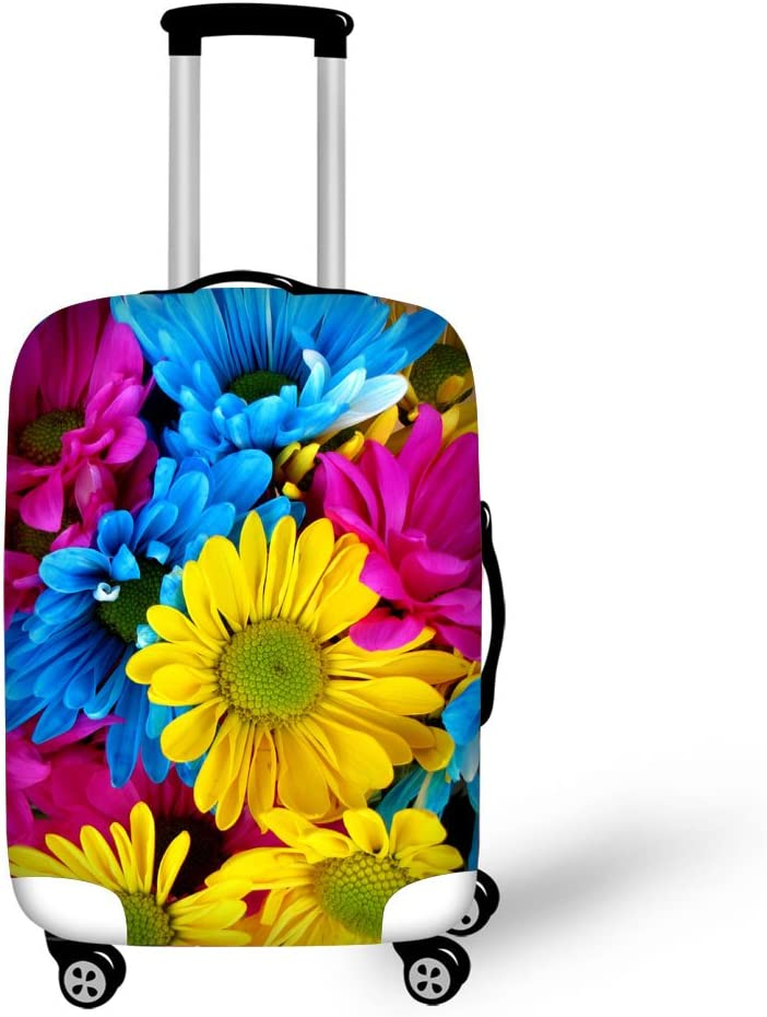 Cute 3D Art Skull Flower Pattern Luggage Protector Travel Luggage Cover Trolley Case Protective Cover Fits 18-32 Inch