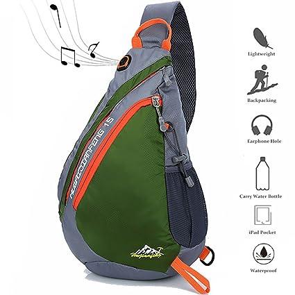 ff90b22e9d41 Peicees Travel Sling Backpacks Crossbody Sling Chest Backpack Bag Single Shoulder  Sling Bags with Water Bottle